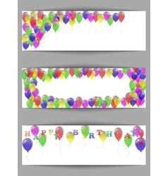 Set of greeting horizontal banners happy birthday vector image