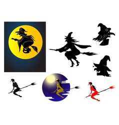 Set of Halloween witches vector image