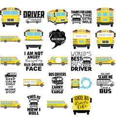 set with yellow school bus monogram frame vector image