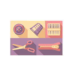 sewing tools set button thimble needle zipper vector image