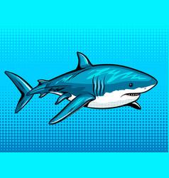 shark comic book style vector image