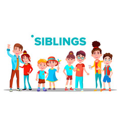 siblings cheerful brothers and sisters vector image