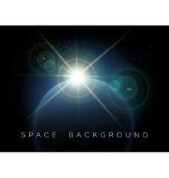 Space background with planet and shining star vector image