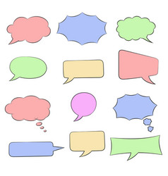 speech bubbles set colored doodles vector image