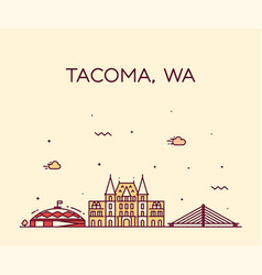 tacoma skyline washington usa linear style vector image
