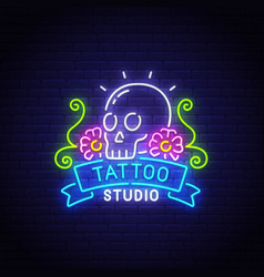tattoo studio neon text bright signboard vector image