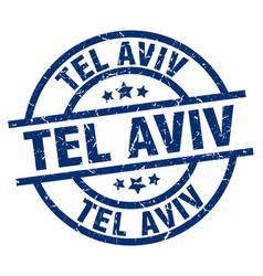 Tel aviv blue round grunge stamp vector