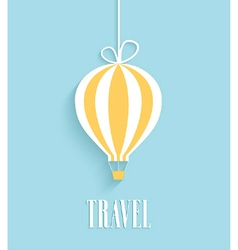 Travel card with hanging air balloon vector image
