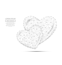 two hearts low poly gray vector image