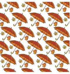 Umbrella and maple leaf rainy weather seamless vector