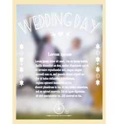Vintage wedding card with bride and groom vector image