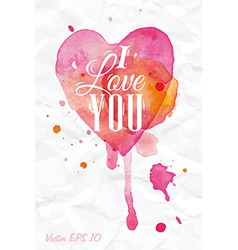 Watercolor Valentines Day Heart lettering vector image