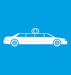Wedding car decoration icon white vector