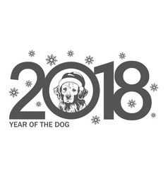 year dog 2018 template new years design vector image