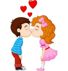 Cartoon little boy kissing a girl vector image vector image