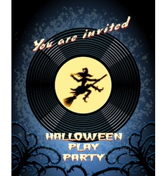 Halloween Play Party Invitation with Witch Graphic vector image vector image