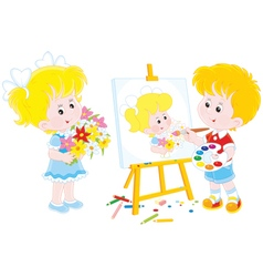 Little painter vector image vector image