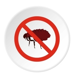 Prohibition sign fleas icon flat style vector image