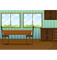 A clean dining room with wooden furnitures vector image