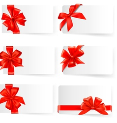big set of red gift bows with ribbons vector image vector image