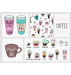 Coffee quote lettering set background vector