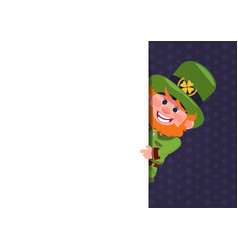 cute leprechaun looking from white template banner vector image