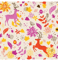 Floral background wih deer vector image vector image