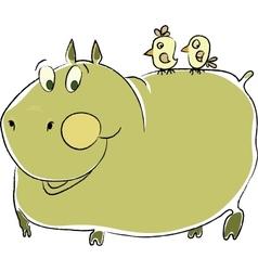 friendly hippo vector image vector image