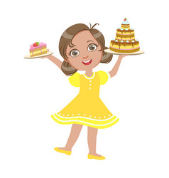 happy girl standing with a birthday cake in her vector image vector image