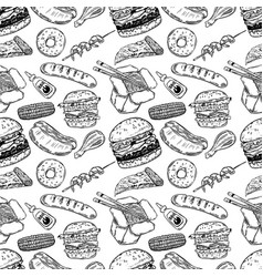 seamless pattern with hand drawn fast food burger vector image