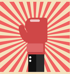 businessman hand with boxing glove on sunburst vector image vector image