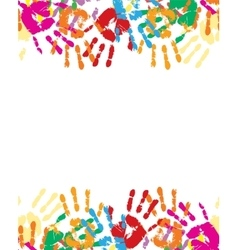Colorful palm prints in bright colors vector image vector image