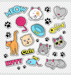 Funny cats doodle with stickers and badges vector