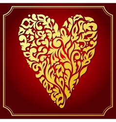 Gold lace ornamental heart Greeting card vector image vector image