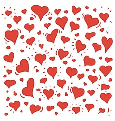 Hand drawn of different lovely hearts vector image vector image