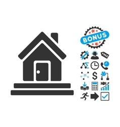 House Front Door Flat Icon with Bonus vector image vector image