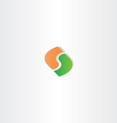 letter s green orange logo icon vector image