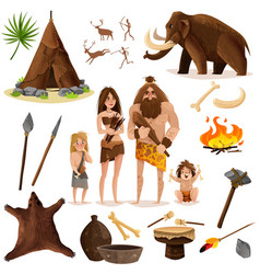 cavemen decorative icons set vector image