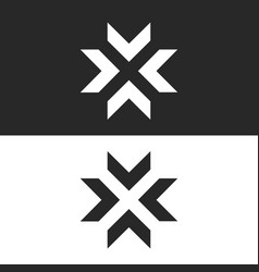 converge arrows logo mockup letter x shape black vector image