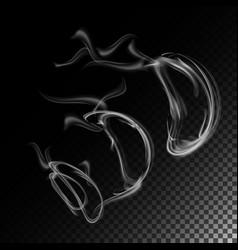 realistic cigarette smoke waves smoke or vector image