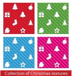 Seamless christmas texture pattern set vector image