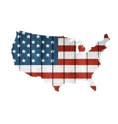 USA Map With Wooden Flag vector image vector image