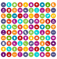100 rags icons set color vector