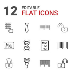 12 code icons vector