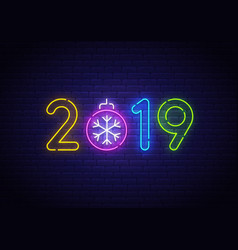 2019 new year neon background colorful vector image