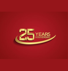 25 years anniversary logo style with swoosh vector