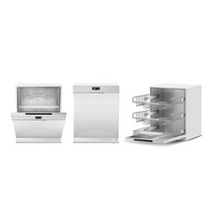 3d realistic white dishwasher with display vector image
