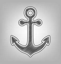 anchor icon pencil sketch imitation dark vector image vector image