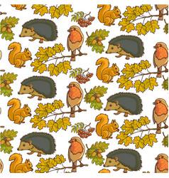 autumn foliage rowanberry and animals seamless vector image