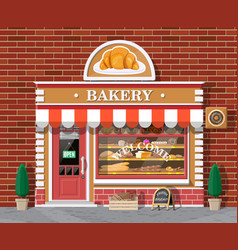 Bakery shop building facade with signboard vector